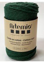 Corde en coton Vert foncé diam: 2,2mm Artémio