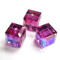 Cubes 5601 Fuchsia AB 4mm x6 Cristal Swarovski