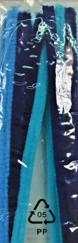 Fil chenille tons bleu Ø 9mm -50 cm x10