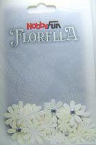 Fleurs blanc/ivoire avec strass - 33 pièces