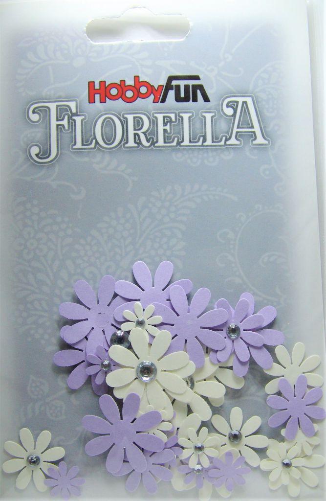 Fleurs blanc/parme avec strass - 33 pièces