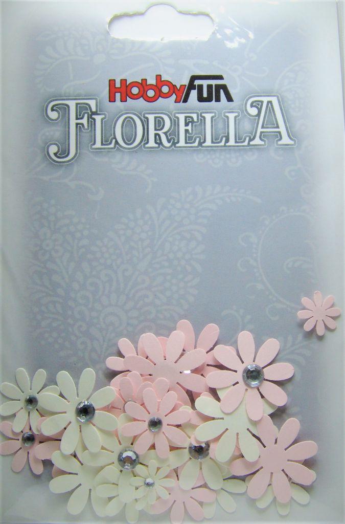 Fleurs blanc/rose avec strass - 33 pièces