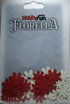 Fleurs blanc/rouge avec strass - 33 pièces