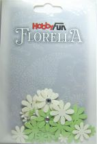 Fleurs blanc/vert avec strass - 33 pièces