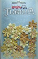 Fleurs dégradé beige/marron avec demi-perle - 20 pièces