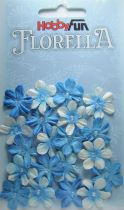 Fleurs dégradé bleu avec demi-perle - 20 pièces