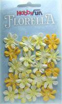 Fleurs dégradé de jaune avec demi-perle - 20 pièces