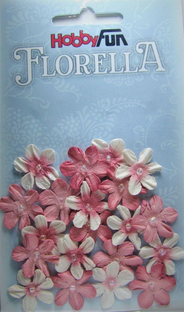 Fleurs dégradé vieux rose avec demi-perle - 20 pièces