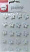Fleurs demi-perle Blanc stickers déco 20 pièces