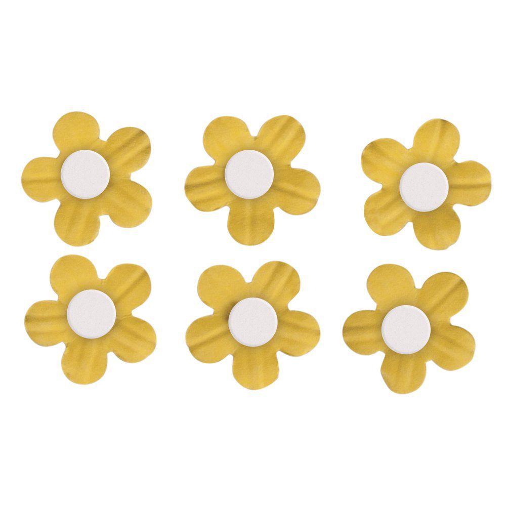 Fleurs demi-perle Jaune stickers déco 20 pièces