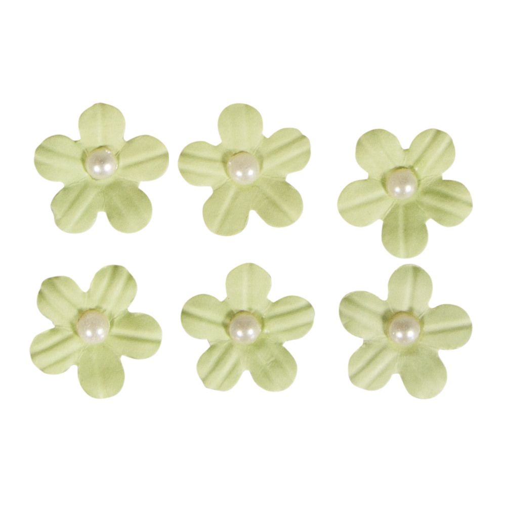 Fleurs demi-perle vert clair stickers déco 20 pièces