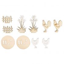Kit poules bois à poser - embellissements rayher