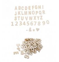 Lettres et Chiffres Bois naturel Adhesifs 120 pièces