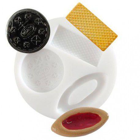 """Mini moule \""""biscuits et gaufrettes\"""" en silicone"""