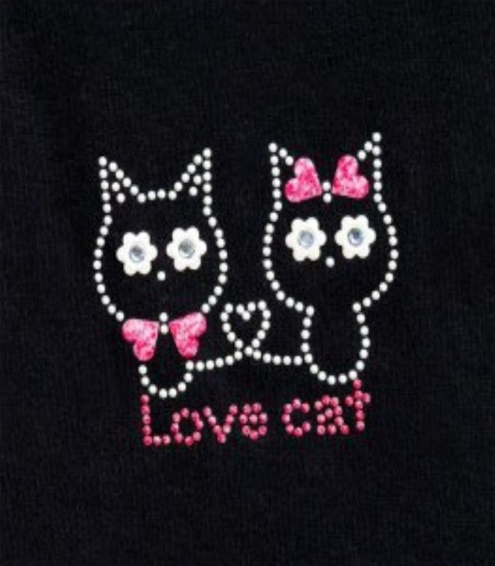 Motifs strass thermocollants love cat