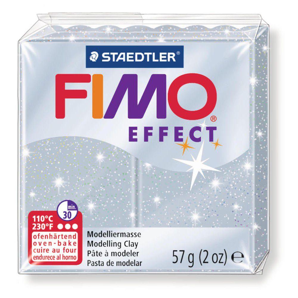 Pâte Fimo Effect 57g Argent Pailleté n°812