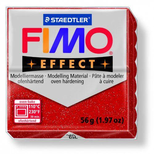 Pâte Fimo Effect 57g Rouge Pailleté n°202