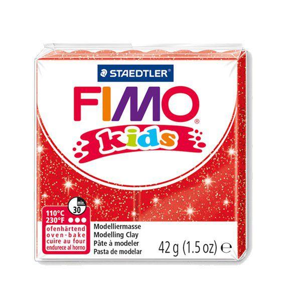 Pâte Fimo Kids 42g Rouge Pailleté n°212