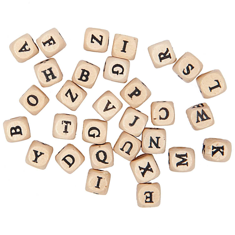 Perles Alphabet en bois carré 60 lettres