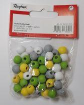 Perles en bois Rayher jaune/vert/blanc/gris Ø 9 mm x60