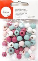 Perles en bois Rayher rose Ø 9 mm x60