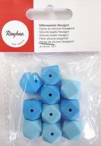 Perles en silicone hexagonale bleu Ø 14 mm x10