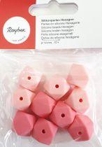 Perles en silicone hexagonale rose Ø 14 mm x10