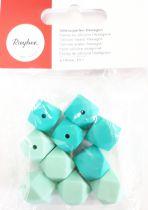 Perles en silicone hexagonale vert menthe Ø 14 mm x10