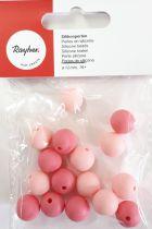 Perles en silicone ronde rose Ø 12 mm x16