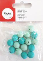 Perles en silicone ronde vert menthe Ø 12 mm x16