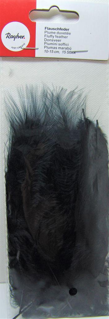 Plumes duvetées - Noir - 10-15cm 15 pièces