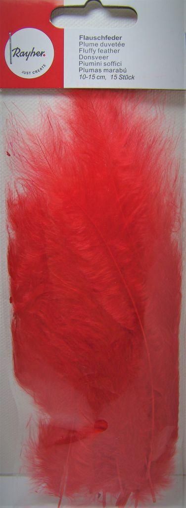 Plumes duvetées - Rouge - 10-15cm 15 pièces