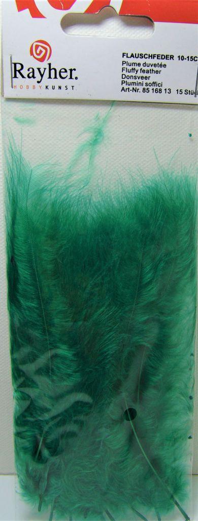 Plumes duvetées - Vert sapin - 10-15cm 15 pièces