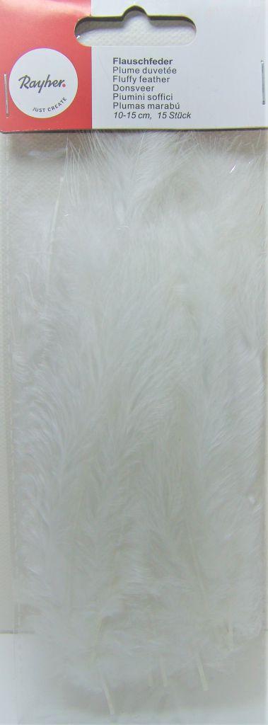 Plumes duvetées blanche 10-15cm 15 pièces