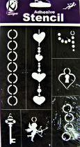 Pochoir adhésif bijoux coeur 18x12 cm