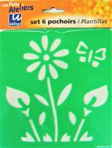 Pochoirs plastique lavable x6 fleurs