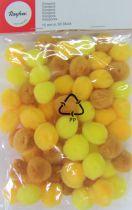 Pompons Ø 15mm 60 pièces jaune assortis
