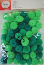 Pompons Ø 15mm 60 pièces vert assortis