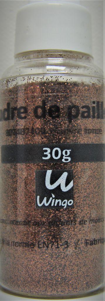 Poudre de paillettes cuivre foncé 30 grs x1