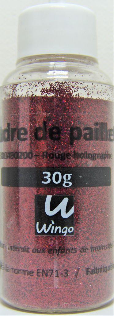 Poudre de paillettes holographique rouge 30 grs x1
