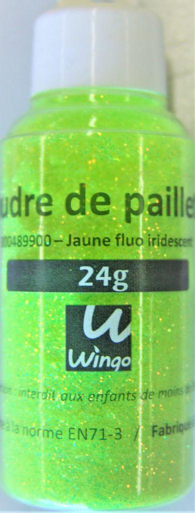 Poudre de paillettes iridescente jaune fluo 24 grs x1