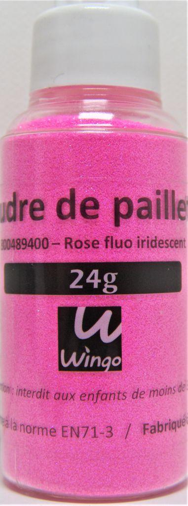 Poudre de paillettes iridescente rose fluo 24 grs x1