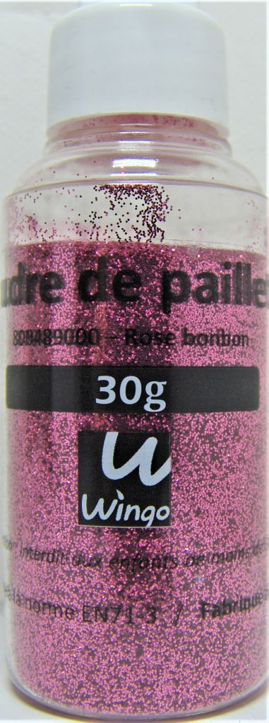 Poudre de paillettes rose bonbon 30 grs x1