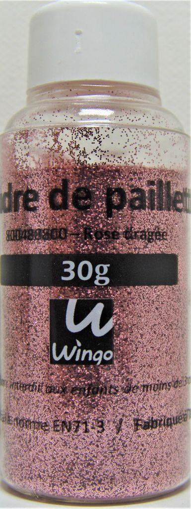 Poudre de paillettes rose dragée 30 grs x1