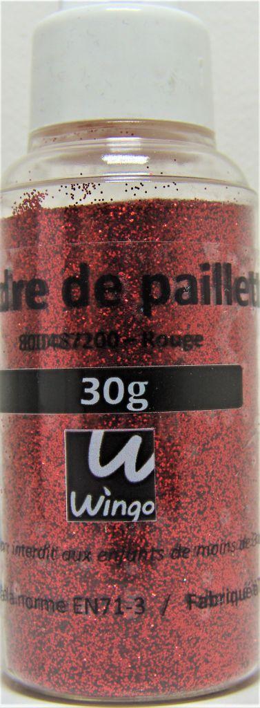 Poudre de paillettes rouge 30 grs x1