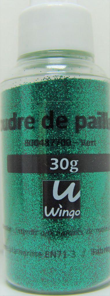 Poudre de paillettes vert 30 grs x1