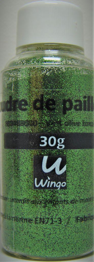 Poudre de paillettes vert olive foncé 30 grs x1