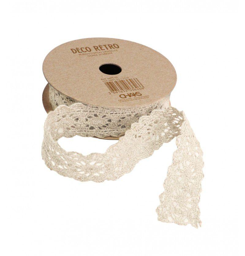 Ruban coton dentelle ivoire 2cmx2m
