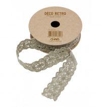 Ruban coton dentelle taupe 2cmx2m