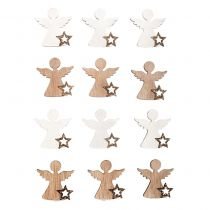 Sachet de 12 miniatures anges en bois